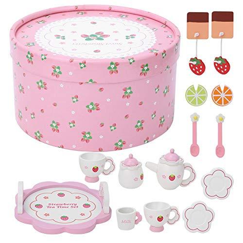 Sora Juguete de simulación de té, Juguete de vajilla insípido no tóxico Seguro, Juguete Educativo de Apariencia Brillante para niños y bebés(Pink Tea Set)