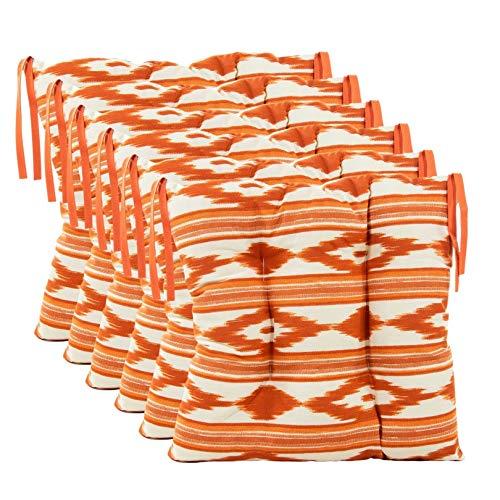 TRESMESTRES, Cojines para Sillas de Jardín, Terraza Exterior, Cocina o Comedor, Comodidad sin Renunciar a tu Decoración, 40x40x8 cm (Blanco-Naranja, 6)