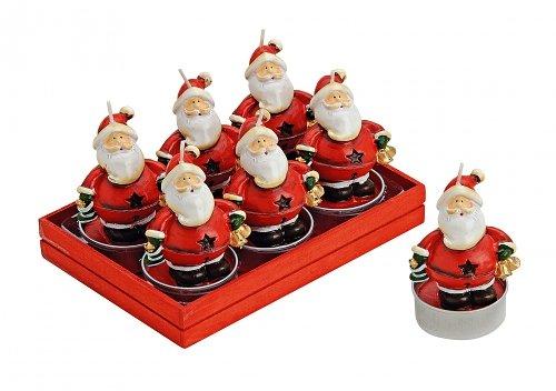 TEELICHT-SET 6TLG SANTA 6X4CM Teelicht Weihnachtsmann Nikolaus bunt 6er Set ca. 7 x 4 cm in Geschenkbox Holz/ Kunststoff