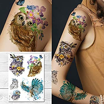 Supperb Temporary Tattoos - Watercolor Owls