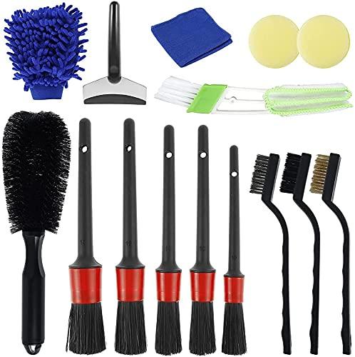 Beenle-Icey 15 PCS Kit Cepillos Limpieza para Coche Cepillo Lavar Coche Cepillo para Llantas Vehículos para Lavado Ruedas, Motor, Ventilación de Aire, Moto