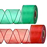 2 Rolls Christmas Organza Wired Sheer Ribbon Chiffon Ribbon Wide Solid Color Wired Sheer Organza for Christmas Wedding Wrapping Crafts Decoration Favors (Red, Green)