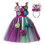 MSemis Vestido Dulce Niña de Fiesta Carnaval Vestido Cumpleaños Niña Sin Mangas Disfraz Princesa Vestido Caramelo de Gasa Tutú Arcoiris de Danza Multicolor 7-8 años