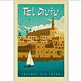yhnjikl Tel Aviv Island, Vintage-Reise-Poster, Kunstseide,
