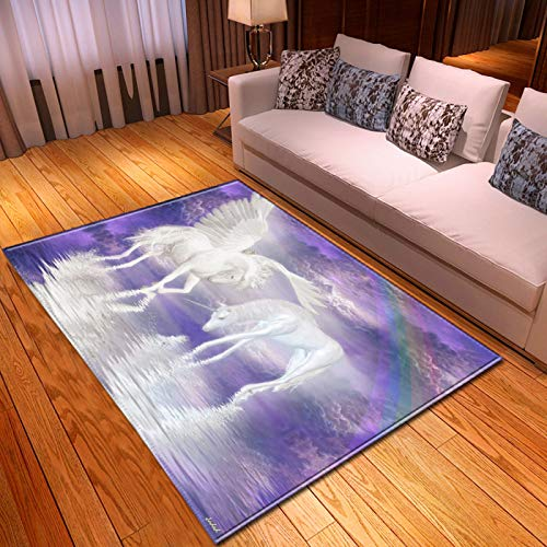 Alfombra de arrastre de niño terciopelo suave anti skid alfombra 3D unicornio impresión con patrón de ala vivero durable juego estera almohadilla de piso para la sala de estar del dormitorio,40 * 60cm