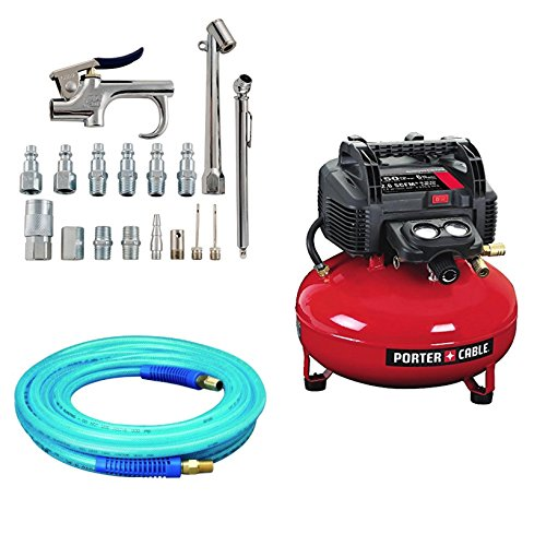 Bundle Includes 3 Items - PORTER-CABLE C2002 Oil-Free UMC Pancake Compressor and Campbell Hausfeld 17-Piece Air Tool and Accessory Kit (MP284701AV) and Amflo 12-25E Blue 300 PSI Polyurethane Air Hose