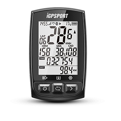 iGPSPORT Fahrradcomputer GPS ANT+ Funktion iGS50E Drahtlose Tachometer Radfahren Fahrrad Kilometerzähler Mit Großen Bildschirm (Schwarz)