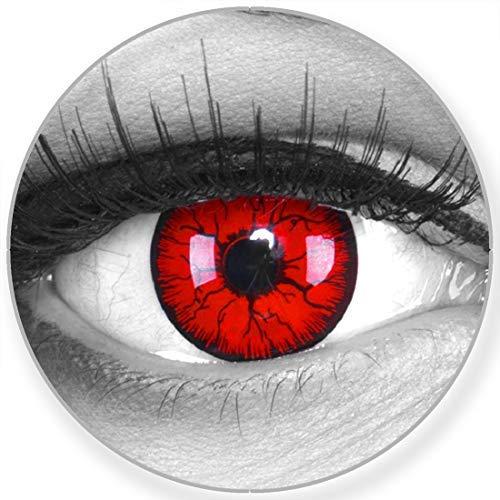 Funnylens Farbige Kontaktlinsen Metatron schwarz rot Blutig weich ohne Stärke 2er Pack + gratis Behälter – 12 Monatslinsen - perfekt zu Halloween Karneval Fasching oder Fasnacht