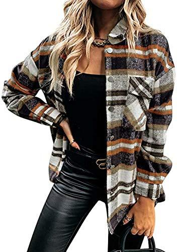 OMZIN Damen Karierte Jacke Knöpfe Oversized Kurz mit Karomuster Taschen Langarm Leichte Hemd Jacke E-Girl Style Herbst Oberteile Top Orange M