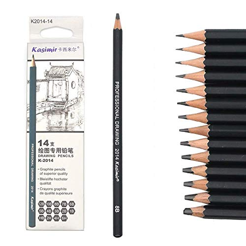 TOUARETAILS 14 Pcs/set Professional Art Sketching Drawing Writing Pencil1B 2B 3B 4B 5B 6B 7B 8B 10B 12B 2H 4H 6H Hb Pencil Stationery Supplies-Black