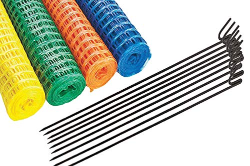 Plastic Barrier Fencing Safety MESH NET C/W 10mm Steel Fence Road PINS Super Strong Quality MESH Fence Extra PINS Available (10MTR + 10PINS, Blue)