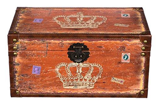 Truhe Kiste SJ14307 Krone Königin England Holztruhe mit Kunstleder bezogen im Vintage Look Schatzkiste Piratenkiste Metallbeschläge koloniale Holzbox mit Ornamenten (Größe L 49cmx28x25cm Orange)