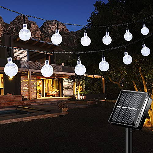 Solar String Lights, 100 LED Solar Lights Outdoor Garden, 8 Modes 17M/56Ft Outdoor Solar Powered Lights Fairy Lights for Garden Patio Yard Home Wedding Christmas Parties - Cool White