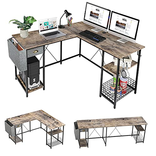 88.5inch L-Shaped Computer Desk with Storage Shelves Drawer, Home Office Writing Corner Desk, 2 Person Long Desk PC Laptop Workstation with Hooks Storage Bag Cable Hole