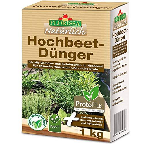 Florissa Natürlich 58671 Hochbeetdünger VEGAN mit rein pflanzlichen Inhaltsstoffen | schnellster Bio-Dünger durch ProtoPlus | Natur im Garten und biologisch GÄRTNERN Gütesiegel, Braun