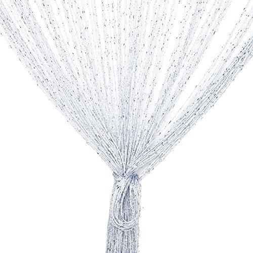 Vidillo Fadenvorhang, Fadenvorhang Glitzer Weiss 100 x 200 cm Wandvorhang Schaufensterdekoration, Dekorative Gardine Raumteiler Fliegenschutz für Hochzeit, Café, Restaurant (Weiß)