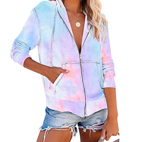 Sudaderas con Capucha Tie Dye para Mujer Bloque de Color Tops Sudadera Moda Cremallera Casual Manga Larga Chaqueta de Abrigo Tops Camisetas
