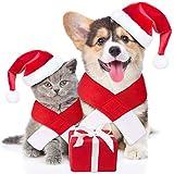 Déguisement de Noël pour animal de compagnie, chapeau et écharpe de Père Noël rouge, accessoire réglable pour petit animal de chat chiot mode fête Noël Nouvel an vêtements de déguisement 2 pièces-L