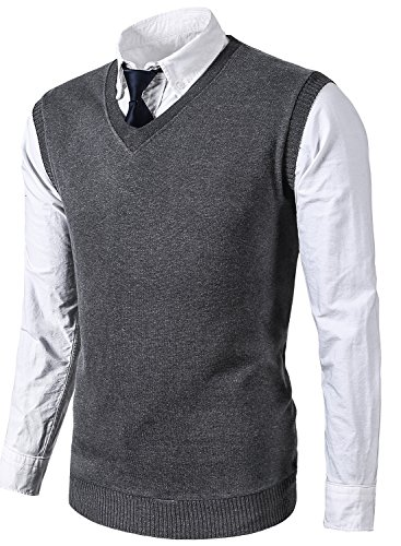 MIEDEON Mens Various Color Casual Slim Fit Knit Vest sweater,Medium,Grey