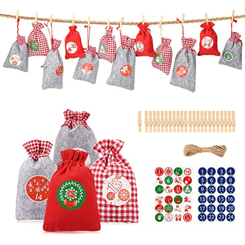 2020 Christmas Advent Calendar, Aitsite 24 Days Burlap Hanging Countdown Drawstring Gift Bags, DIY Xmas Countdown Garland for Christmas Toys Home Decor Candy Gift Bags