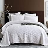 Qucover Tagesdecke Weiß 240x260 aus Baumwolle Große Decke für Bett Elegante Bettüberwurf Doppelbett Dünne Steppdecke mit Stickerei Muster