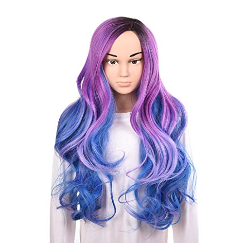 Child Girl Wigs Long Wave Purple Mixed Blue Halloween Costumes Wig Cap Heat Resistant Synthetic Natural Hairline Cosplay Anime Party Wigs