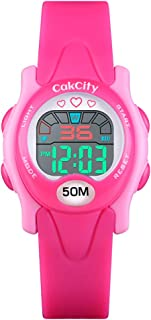 CakCity Kids Watch Digital Waterproof for Girls Boys Toddler Cute LED Watches with Luminous Alarm Stopwatch Wrist Watch for 3-10 Year Little Child