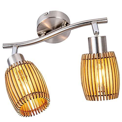 Decken Lampe Holz Wohn Zimmer Beleuchtung Strahler Nickel Matt Eiche hell Leuchte Nino 81040246