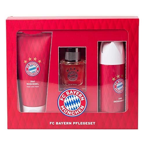 Bayern MÜNCHEN FCB kompatibel Pflegeset + Sticker München Forever, Deospray, EAU de Toilette, Duschgel, Geschenkset
