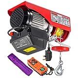 PARTSAM Polipasto eléctrico 600kg 1320lbs, Cabestrante Electrico 230V, Altura de elevación max. 12m, Con Mando de Radio & Correa transportadora