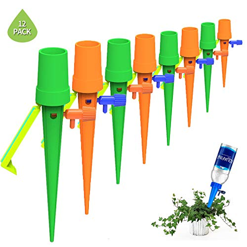 MinaNa Plant Waterer, Self Watering Spikes System with Slow Release Control Valve Switch, Care Your Indoor & Outdoor Home Office Plants-12 Pack[Upgraded Version] (Yellow-Green(Update))
