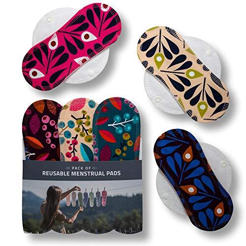 Compresas de tela reutilizables, pack de 6 compresas ecologicas de algodón orgánico con alas (de tamaños S+M) HECHAS EN LA UE, para menstruación, incontinencia; compresas lavables organico para mujer