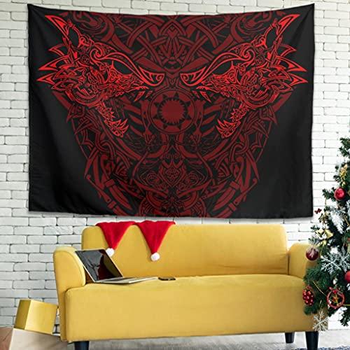 Buweirezhi Tapiz de pared con diseño de lobo vikingo, impresión Fenrir, para esterilla de yoga, color blanco, 200 x 150 cm