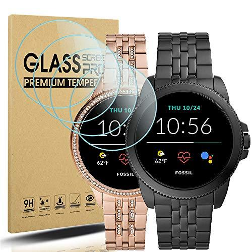 Diruite 4-Stück Panzerglas für Fossil Gen 5E 42mm/44mm Schutzfolie,HD Glas Bildschirmschutzfolie für Fossil Gen 5E Intelligente Uhr