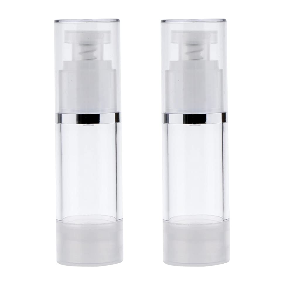 Perfk 2個 ポンプボトル ポンプチューブ エアレスボトル ディスペンサー コスメ 詰替えボトル 旅行小物 出張 3サイズ選べる - 30ml
