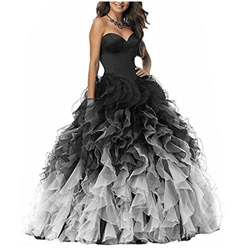 NUOJIA A Linie Herzausschnitt Quinceanera Kleid mit Rüschen Lang Prinzessin Ballkleid Festkleid Schwarz und weiß 38