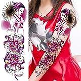 Handaxian Etiqueta engomada del Tatuaje a Prueba de Agua 3pcs Hermosa Flor Rosa Brazo Completo Tatuaje Bordado Hombres Mujeres Tatuaje 3pcs-2