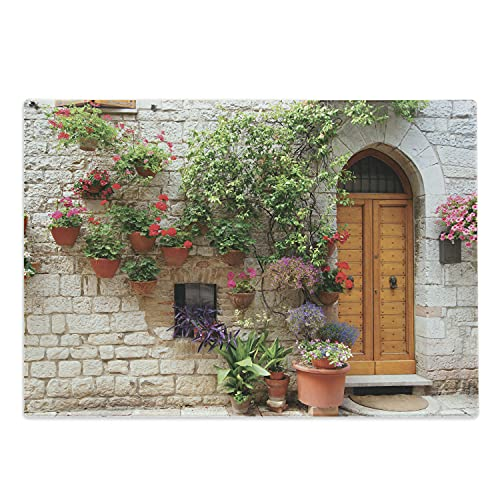 Lunarable Tuscan Cutting Board, Begonia Blossoms in Box Window Wooden Shutters Brick Wall Romagna Italy, Decorative Tempered Glass Cutting and Serving Board, Large Size, Orange White