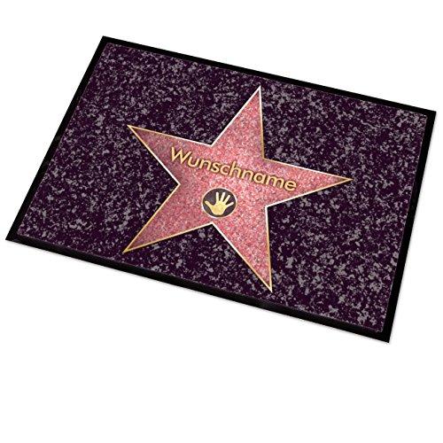 Cera & Toys Waschbare Hollywood Fußmatte - Walk of Fame - mit Gratis Namensaufdruck 50 x 70 cm für Innen- und Außenbereiche