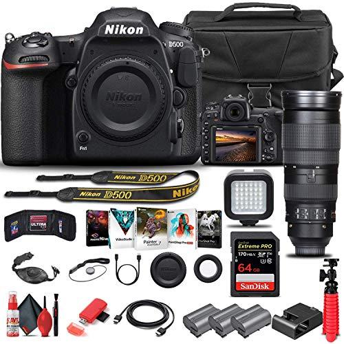 Nikon D500 DSLR Camera (Body Only) (1559) + Nikon 200-500mm Lens + 64GB Memory Card + Case + Corel Photo Software + 2 x...