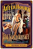 Metal Tin Sign Iron Painting After Hours Scotch Pinup Girl Retro Vintage Bar Signs Tin Sign Vintage 8 x 12 Inches