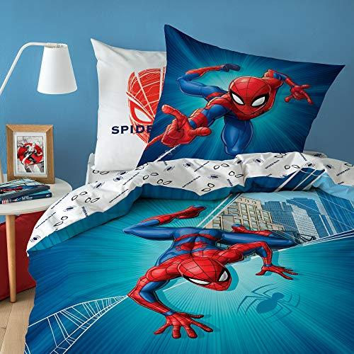 Marvel Spiderman - City. Parure de lit Enfant Réversible 100% Coton, Housse de Couette 140x200 cm et 1 taie d'oreiller 63x63 cm. Superhéros, Bleu, Rouge