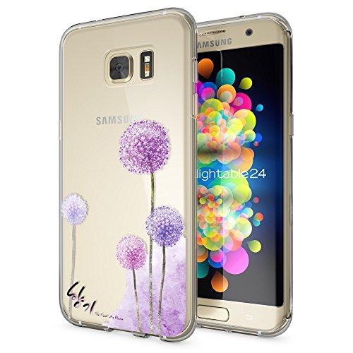 NALIA Handyhülle kompatibel mit Samsung Galaxy S7 Edge, Slim Silikon Motiv Case Hülle Cover Crystal Dünn Durchsichtig, Etui Handy-Tasche Back-Cover Transparent Bumper, Designs:Dandelion Pink