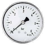 0-6 bar 1/4' NPT filetage Manomètre de pression pour Eau Liquide Carburant Huile Air, Manomètre de haute précision