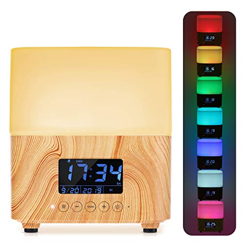 Aroma Öl Diffuser, Y.F.M 300ml Holzmaserung Aromatherapie-Maschine Diffusor mit 7 Farben LED Vernebler Duftlampe, Zeit- und Datumsanzeige, Luftbefeuchter geeignet für Wohnzimmer, Büro, Yoga, Spa usw