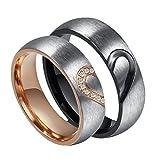 Rowag - Pareja de anillos con forma de corazón, de titanio y acero inoxidable, para él y para ella, con circonitas cúbicas incrustadas, anillos de compromiso