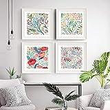 Estilo nórdico Plantas verdes Hoja Lienzo Impresión de póster Flores rojas modernas Arte de la pared Pintura Decoración Imágenes Habitación de los niños Decoración para el hogar | 50x50cmx4 Sin marco