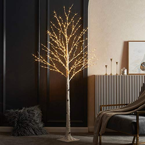 LITBLOOM Lighted Twig Birch Tree with Fairy Lights 6FT 330 Warm White LED for Indoor Outdoor Christmas Home Decoration