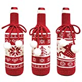 WIOR 3Pcs Christmas Wine Bottle Cover Novelty Sweater Wine Bottle Cover Snowflake Christmas Tree Reindeer Pattern Knitted Wine Champagne Bottle Cover for Xmas Christmas Decorations