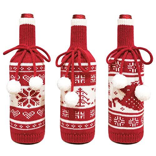 yideng 3Pcs Weihnachten Weinflaschenabdeckung Neuheit Pullover Weinflaschenabdeckung Schneeflocke |Weihnachtsbaum |Rentiermuster Gestrickt Wein Champagner Flasche Abdeckung